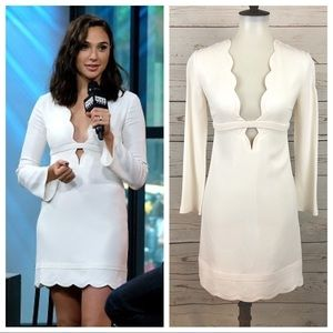 A.L.C White Scalloped Plunging Neck Eve Dress